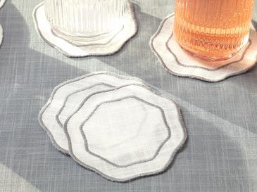 Arzu Sabancı Adora Polyester 4'lü Bardak Altlığı 11 Cm Beyaz - Gri