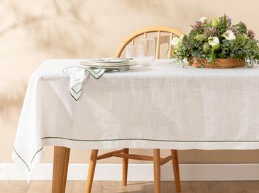 Arzu Sabancı Tropikal Polyester Masa Örtüsü 150x200 Cm Beyaz - Yeşil