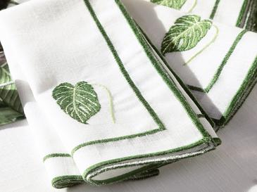 Arzu Sabancı Tropikal Polyester 4'lü Misafir Peçetesi 40x40 Cm Beyaz - Yeşil