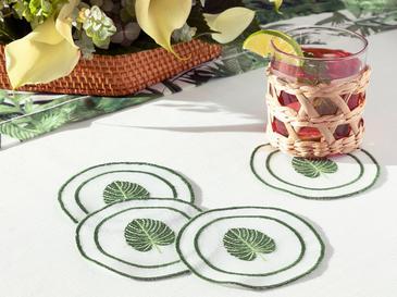 Arzu Sabancı Tropikal Polyester 4'lü Bardak Altlığı 11 Cm Beyaz - Yeşil
