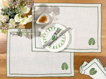 Arzu Sabancı Tropikal Polyester 2'li Amerikan Servis 35x50 Cm Beyaz - Yeşil
