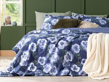 Pansy Bloom Pamuklu Çift Kişilik Nevresim Seti 200x220 Cm Koyu Mavi