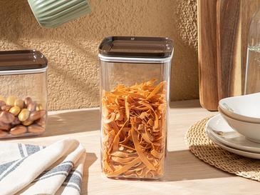 Brena 3'lü Plastik Kapaklı Erzak Kabı 1,5l Kahve