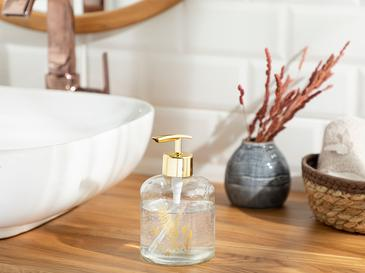 Leafy Banyo Sıvı Sabunluk 8x14 Cm Gold