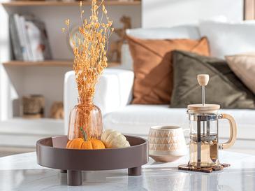 Pure Chic Straw/mdf Dekoratıf Tepsı 25,5x8x25,5 Cm Koyu Kahve