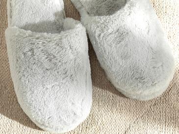 Fluffy Peluş Kadın Ev Terliği 38 Gri