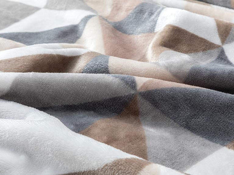 Trigon Baskılı Super Soft Çift Kişilik Battaniye 200x220 Cm Gri - Bej