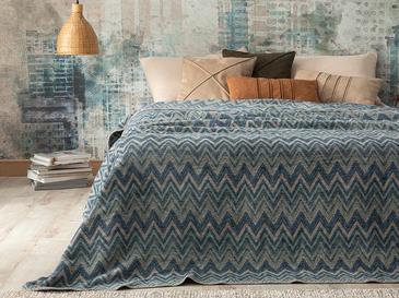 Cult Zigzag Pamuklu Çift Kişilik Battaniye 200x220 Cm Mavi
