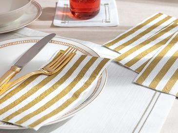 Striped Kağıt 20'li Kağıt Peçete 33x40 Gold