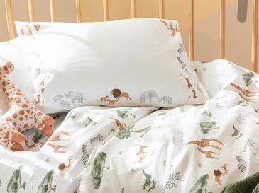 Safari Pamuklu Bebe Nevresim Takımı 100x150 Cm Beyaz