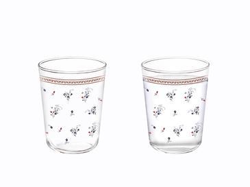 Floral Day Cam 6'lı Kahve Yanı Su Bardağı 100 Ml Kırmızı - Mavi
