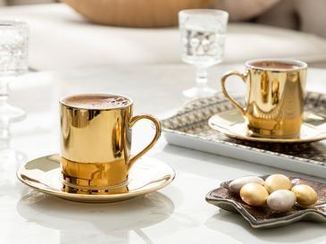 Gigi Porselen 2'li Kahve Fincan Takımı 80 Ml Gold
