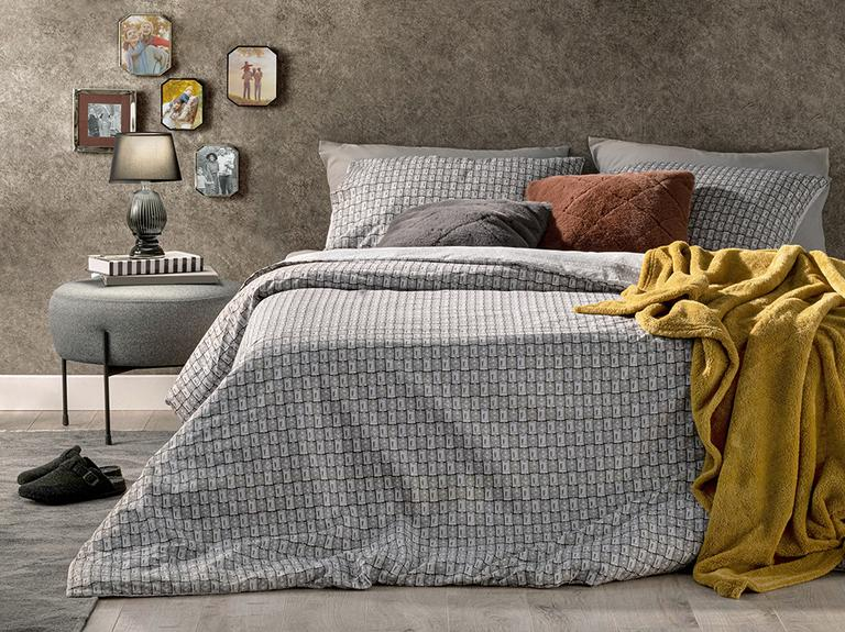 Deltoid Pamuklu King Size Nevresim Seti 240x220 Cm Gri