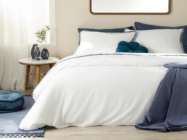 Adorn Saçaklı Pamuk Çift Kişilik Nevresim Seti 200x220 Cm Beyaz