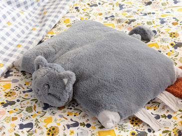 Cat Polyester Dekoratıf Yastık 41x40 Cm Gri
